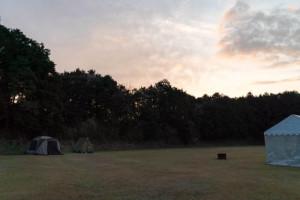 キャンプサイトの朝